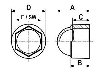 10 M6 Sechskant Schutzkappe SW10 schwarz