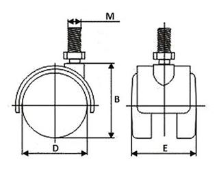verpas lenkrolle pa 52mm m10x15 pu lauffl ch mit bremse. Black Bedroom Furniture Sets. Home Design Ideas